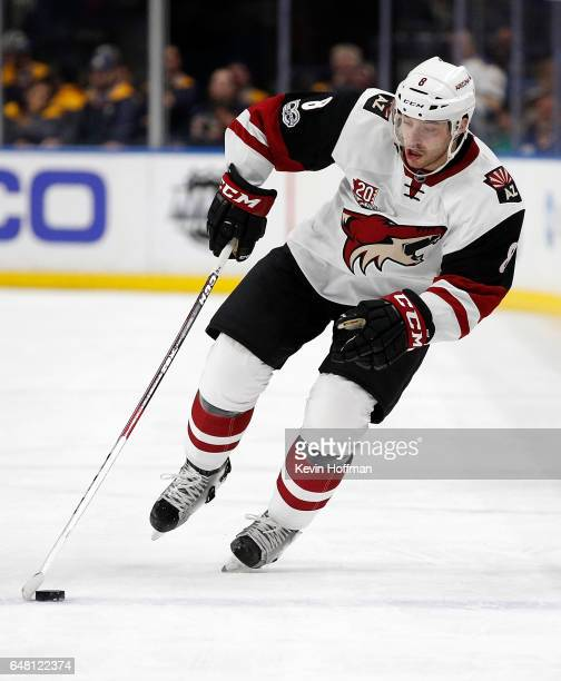 Tobias Rieder of the Arizona Coyotes during the game against the Buffalo Sabres at the KeyBank Center on March 2 2017 in Buffalo New York Sabres beat...