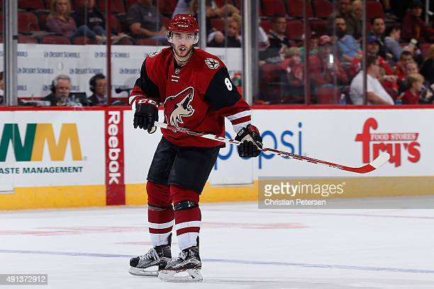 Tobias Rieder of the Arizona Coyotes in action during the NHL preseason game against the San Jose Sharks at Gila River Arena on October 2 2015 in...