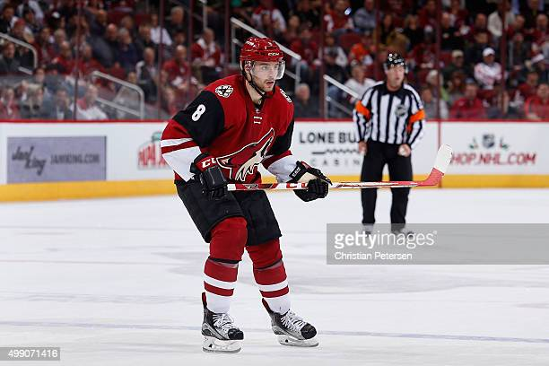 Tobias Rieder of the Arizona Coyotes in action during the NHL game against the Anaheim Ducks at Gila River Arena on November 25 2015 in Glendale...