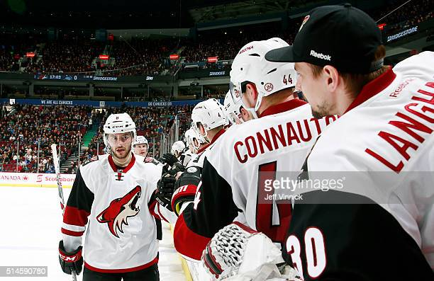 Tobias Rieder of the Arizona Coyotes is congratulated at the bench after scoring against the Vancouver Canucks during their NHL game at Rogers Arena...