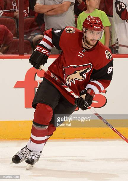 Tobias Rieder of the Arizona Coyotes prepares for a game against the Minnesota Wild at Gila River Arena on October 15 2015 in Glendale Arizona