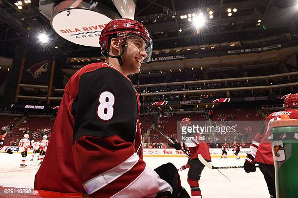Tobias Rieder of the Arizona Coyotes prepares for a game against the Calgary Flames at Gila River Arena on December 8 2016 in Glendale Arizona