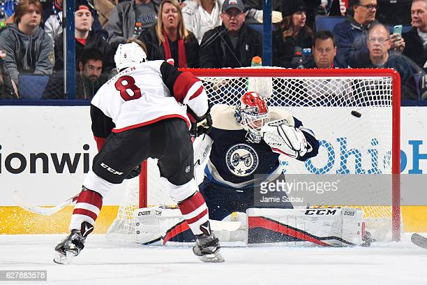 Tobias Rieder of the Arizona Coyotes scores on goaltender Sergei Bobrovsky of the Columbus Blue Jackets during the first period of a game on December...