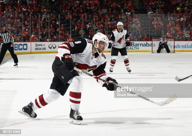 Tobias Rieder of the Arizona Coyotes skates against the New Jersey Devils at the Prudential Center on October 28 2017 in Newark New Jersey The Devils...