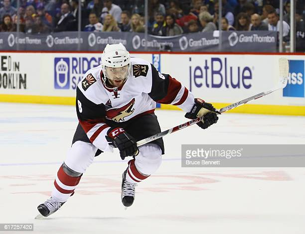 Tobias Rieder of the Arizona Coyotes skates against the New York Islanders at the Barclays Center on October 21 2016 in the Brooklyn borough of New...