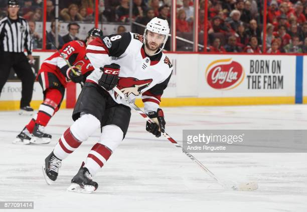 Tobias Rieder of the Arizona Coyotes skates against the Ottawa Senators at Canadian Tire Centre on November 18 2017 in Ottawa Ontario Canada