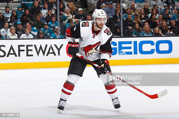 Tobias Rieder of the Arizona Coyotes skates against the San Jose Sharks at SAP Center on February 13 2016 in San Jose California