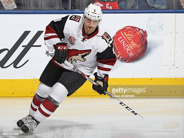 Tobias Rieder of the Arizona Coyotes skates during the warmup prior to playing against the Toronto Maple Leafs in an NHL game at the Air Canada...