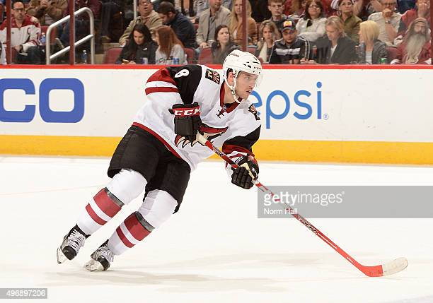 Tobias Rieder of the Arizona Coyotes skates the puck up ice against the Colorado Avalanche at Gila River Arena on November 5 2015 in Glendale Arizona