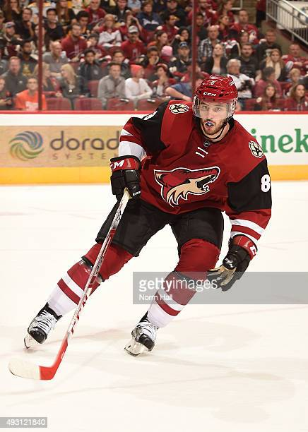 Tobias Rieder of the Arizona Coyotes skates up ice against the Pittsburgh Penguins at Gila River Arena on October 10 2015 in Glendale Arizona