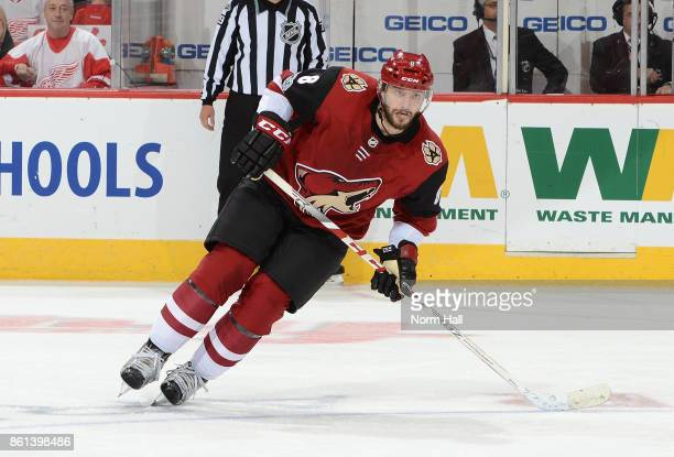 Tobias Rieder of the Arizona Coyotes skates up ice against the Detroit Red Wings at Gila River Arena on October 12 2017 in Glendale Arizona