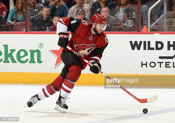 Tobias Rieder of the Arizona Coyotes skates with the puck against the Montreal Canadiens at Gila River Arena on February 15 2016 in Glendale Arizona