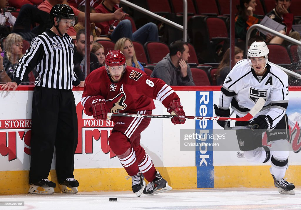Tobias Rieder #8 of the Arizona Coyotes skates with the puck during the NHL rookie camp game against the Los Angeles Kings at Gila River Arena on September 16, 2014 in Glendale, Arizona.