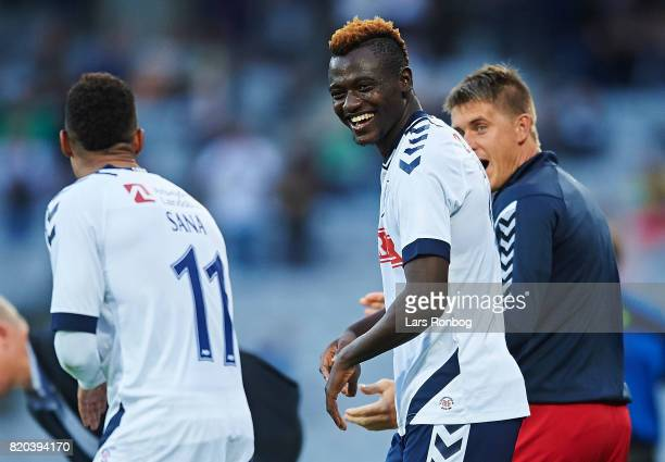 Tobias Sana and Mustapha Bundu of AGF Aarhus celebrate after scoring their second goal during the Danish Alka Superliga match between AGF Aarhus and...