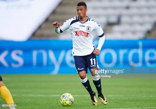 Tobias Sana of AGF Aarhus controls the ball during the Danish Alka Superliga match between AGF Aarhus and Hobro IK at Ceres Park on July 21 2017 in...