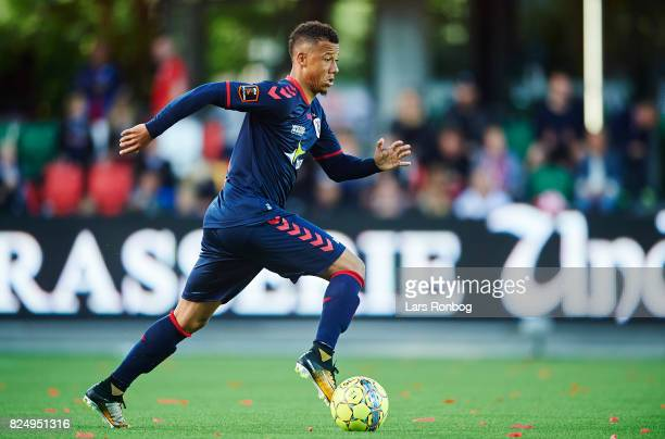 Tobias Sana of AGF Aarhus controls the ball during the Danish Alka Superliga match between Silkeborg IF and AGF Aarhus at Jysk Park on July 31 2017...