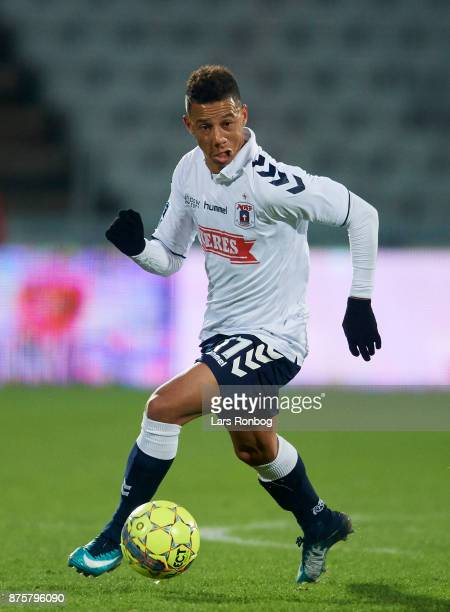 Tobias Sana of AGF Aarhus controls the ball during the Danish Alka Superliga match between AGF Aarhus and Silkeborg IF at Ceres Park on November 18...