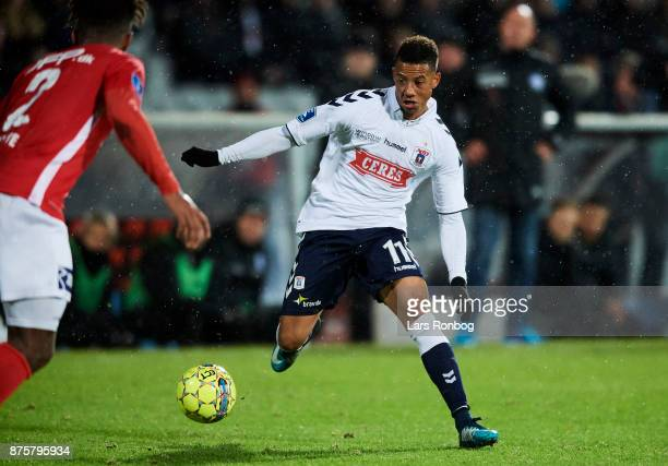 Tobias Sana of AGF Aarhus in action during the Danish Alka Superliga match between AGF Aarhus and Silkeborg IF at Ceres Park on November 18 2017 in...