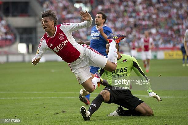 Tobias Sana of Ajax Esteban Alvarado Brown of AZ during the Dutch Eredivisie match between Ajax Amsterdam and AZ Alkmaar at the Amsterdam Arena on...