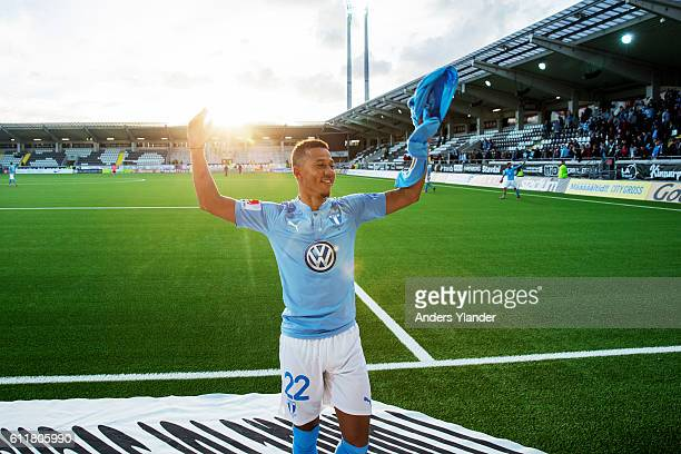 Tobias Sana of Malmo FF celebrates after winning the Allsvenskan match between BK Hacken and Malmo FF at Bravida Arena on October 1 2016 in...
