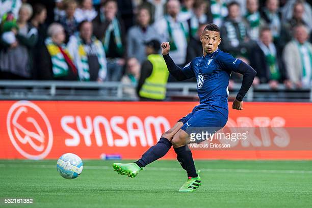 Tobias Sana of Malmo FF during the Allsvenskan match between Hammarby IF and Malmo FF at Tele2 Arena on May 18 2016 in Stockholm Sweden