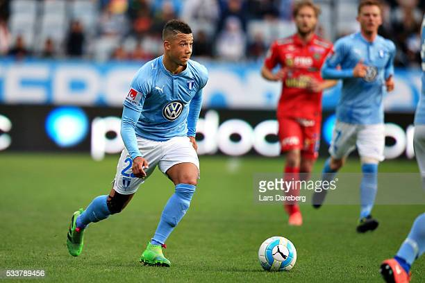 Tobias Sana of Malmo FF during the Allsvenskan match between Malmo FF and Falkenbergs FF at Swedbank Stadion on May 23 2016 in Malmo Sweden