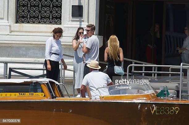 Tobias Schweinsteiger arrives with girlfriend Sarah and son Max Liam at Aman Grand Canal hotel on July 13 2016 in Venice Italy