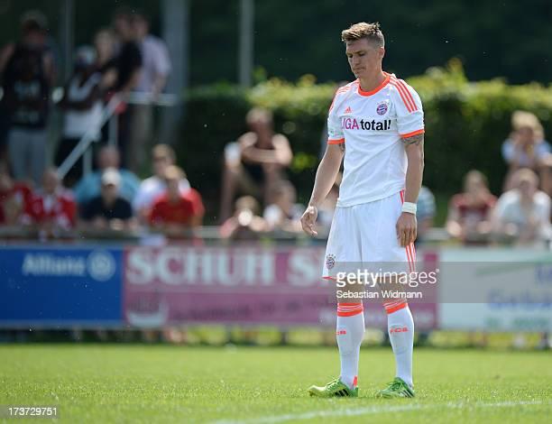 Tobias Schweinsteiger of Bayern Muenchen II reacts to a missed shot during the Regionalliga Bayern match between SV Heimstetten and Bayern Muenchen...