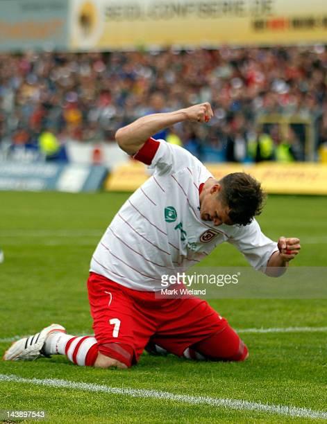 Tobias Schweinsteiger of Jahn Regensburg shows his frustration during the Third League match between Jahn Regensburg and CZ Jena on May 5 2012 in...