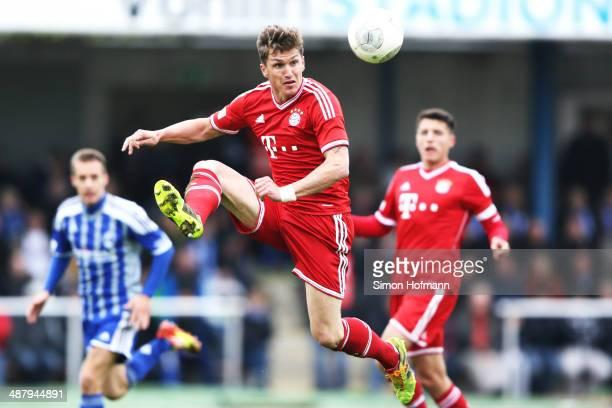 Tobias Schweinsteiger of Muenchen controls the ball during the Regionalliga Bayern match between FV Illertissen and Bayern Muenchen II on May 3 2014...