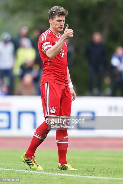 Tobias Schweinsteiger of Muenchen gestures during the Regionalliga Bayern match between FV Illertissen and Bayern Muenchen II on May 3 2014 in...