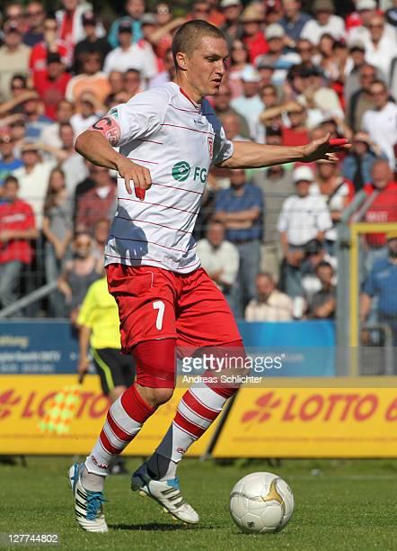 Tobias Schweinsteiger of Regensburg during the Third League match between 1 FC Saarbruecken and WehenWiesbaden at Jahn Stadium on October 1 2011 in...
