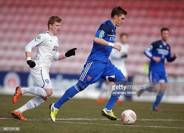 Tobias Schweinsteiger of Unterhaching battles for the ball with Markus Piossek of Osnabrueck during the Third League match between SpVgg Unterhaching...
