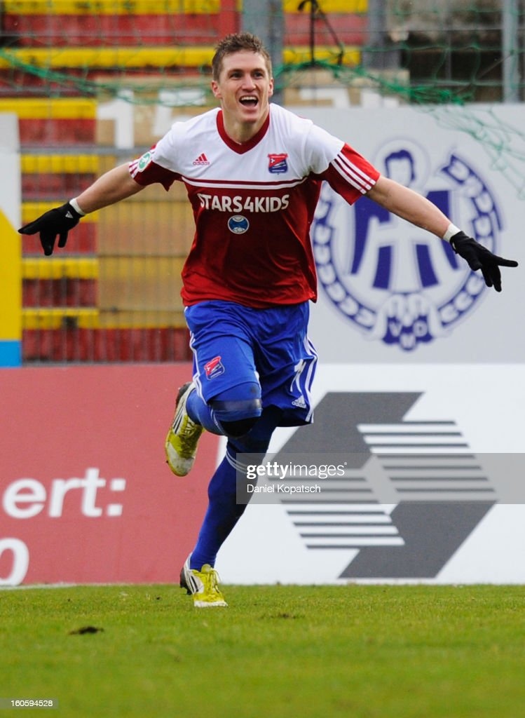 <a gi-track='captionPersonalityLinkClicked' href=/galleries/search?phrase=Tobias+Schweinsteiger&family=editorial&specificpeople=752538 ng-click='$event.stopPropagation()'>Tobias Schweinsteiger</a> of Unterhaching celebrates his team's first goal during the third Bundesliga match between SpVgg Unterhaching and Hallescher FC on February 3, 2013 in Unterhaching, Germany.