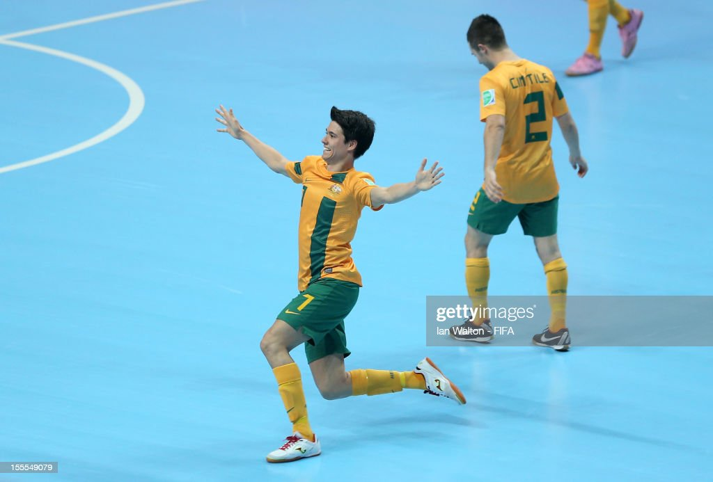 Tobias Seeto of Australia celebrates scoring a goal during the FIFA Futsal World Cup Thailand 2012, Group D match between Australia and Mexico at Nimibutr Stadium on November 5, 2012 in Bangkok, Thailand.