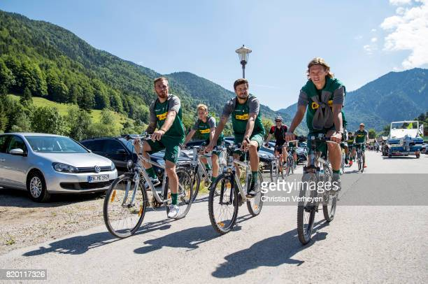 Tobias Sippel Nico Elvedi Tobias Strobl and Jannik Vestergaard of Borussia Moenchengladbach during a training session at the Training Camp of...