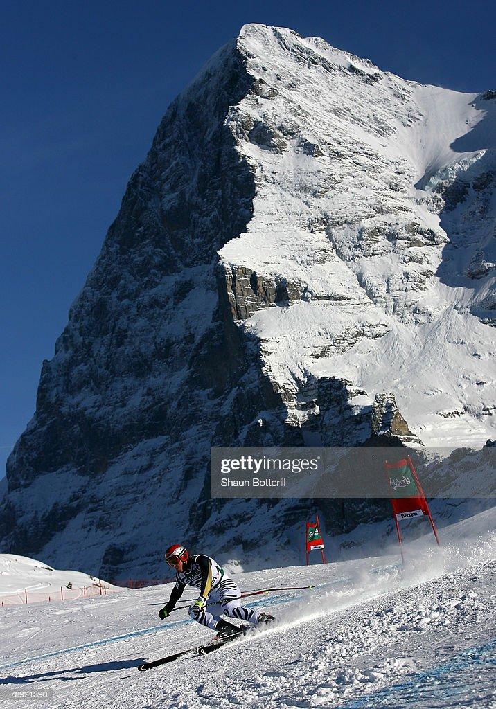Tobias Stechert of Germany ski's past the Eiger during the Men's Downhill on January 13 2008 in Wengen Switzerland