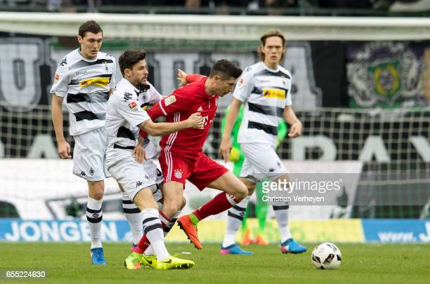 Tobias Strobl of Borussia Moenchengladbach and Robert Lewandowski of FC Bayern Muenchen battle for the ball during the Bundesliga Match between...