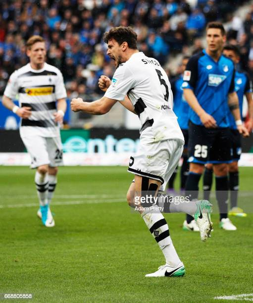 Tobias Strobl of Borussia Moenchengladbach celebrates after scoring the second goal during the Bundesliga match between TSG 1899 Hoffenheim and...