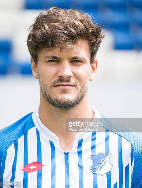 Tobias Strobl poses during the team presentation of 1899 Hoffenheim at Wirsol RheinNeckarArena on July 14 2015 in Sinsheim Germany
