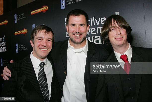 Tobias Stromvall Greg Goodrich and Christofer Emgard arrive at the Academy of Interactive Arts and Sciences' 11th Annual Interactive Achievement...
