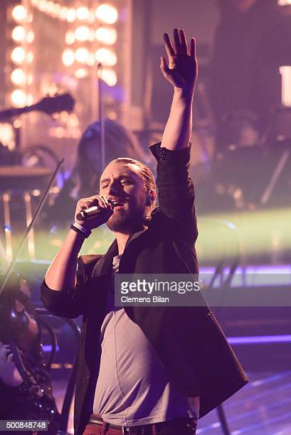 Tobias Vorwerk performs live on stage of the 'The Voice Of Germany Semi Final' on December 10 2015 in Berlin Germany