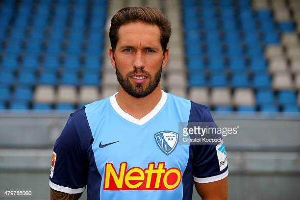 Tobias Weis poses during the team presentation of VfL Bochum at Rewirpower Stadium on July 7 2015 in Bochum Germany