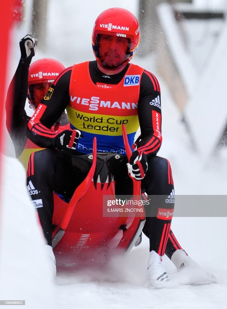 Tobias Wendl (front) and Tobias Arlt of Germany celebrate after their run at the Luge World Cup Doubles competition on December 15 , 2012 in Sigulda, Latvia, some 50 km northeast of Riga. The pair finished first ahead of Peter Penz and Georg Fischer of Austria (2nd) and Christian Oberstolz and Patrick Gruber (3rd) of Italy.