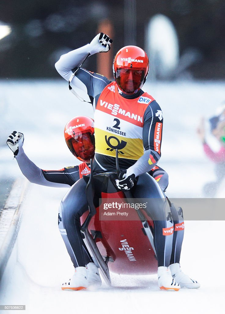 <a gi-track='captionPersonalityLinkClicked' href=/galleries/search?phrase=Tobias+Wendl&family=editorial&specificpeople=4784289 ng-click='$event.stopPropagation()'>Tobias Wendl</a> and <a gi-track='captionPersonalityLinkClicked' href=/galleries/search?phrase=Tobias+Arlt&family=editorial&specificpeople=4784288 ng-click='$event.stopPropagation()'>Tobias Arlt</a> of Germany celebrate victory in the Mens Double Luge competition during Day 1 of the Luge World Championships 2016 at Deutsche Post Eisarena Koenigssee on January 30, 2016 in Koenigssee, Germany.