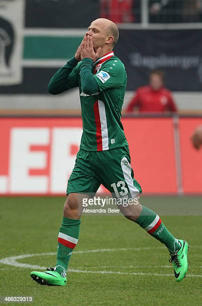Tobias Werner of Augsburg celebrates his first goal during the Bundesliga match between FC Augsburg and Werder Bremen at SGL Arena on February 1 2014...