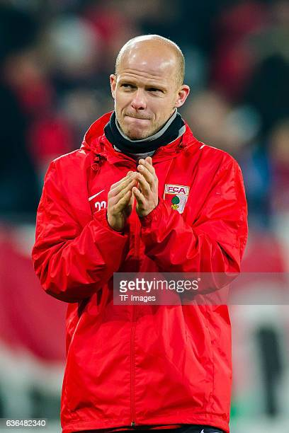 Tobias Werner of FC Augsburg gestures during the UEFA Europa League match between FC Augsburg and Liverpool at WWK ARENA on February 18 2016 in...