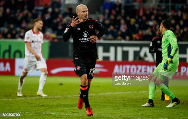 Tobias Werner of Nuernberg celebrates after scoring his teams first goal during the Second Bundesliga match between Fortuna Duesseldorf and 1 FC...