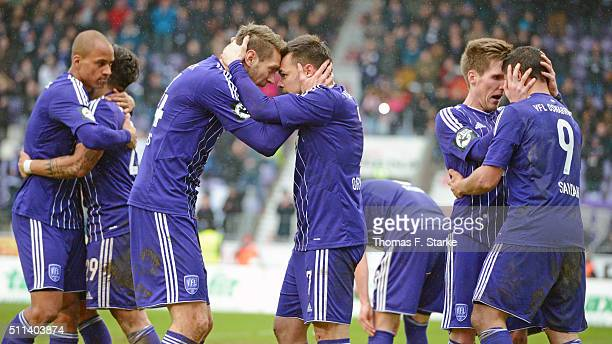 Tobias Willers and Massimo Ornatelli of Osnabrueck celebrate their teams second goal during the Third League match between between VfL Osnabrueck and...