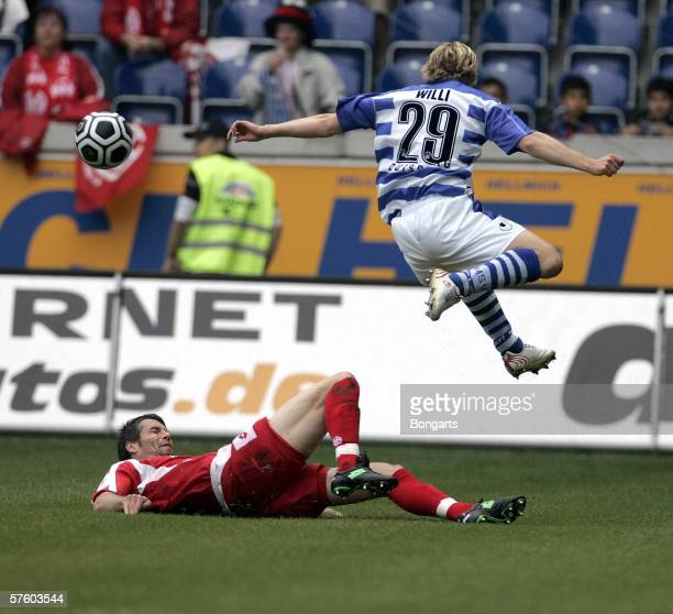 Tobias Willi of MSV and Marco Rose fights for the ball during the Bundesliga match between MSV Duisburg and Mainz 05 at the MSV Arena on May 13 2006...